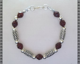 brown bracelet, dark brown bracelet, crystal bracelet, silver bracelet