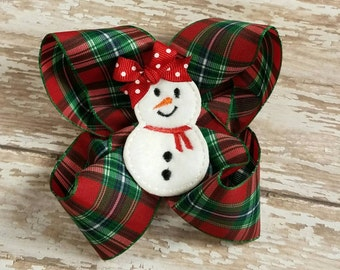 Christmas Plaid Boutique Hairbow - Red Green and alittle white and Blue Feltie Hair bow -  Snowman Hairbows -