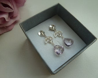 Sterling silver poppy earstuds with cherry blossom charms and pink amethyst briolettes