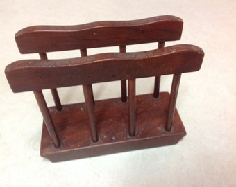 Vintage wood shabby napkin holder slatted 6 by 4 3/4""