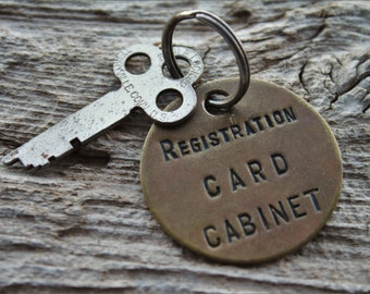 Vintage Brass Registration Card Cabinet Keychain with Eagle Flat Key
