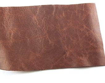 """Distressed Brown Leather - 4"""" X 6"""" Square Brown Split Leather - Brown Craft Leather - Cowhide leather - Genuine Leather - Leather Remnant"""