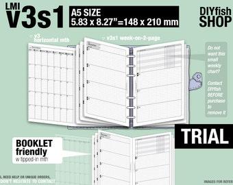 Trial [A5 v3s1 w/o daily] November to December 2017 - Filofax Inserts Refills Printable Binder Planner Midori.