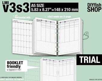 Trial [A5 v3s3 w/o daily] November to December 2017 - Filofax Inserts Refills Printable Binder Planner Midori.