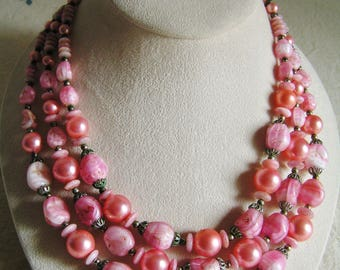 Vintage Trifari Triple Necklace in Pink Triple Strand Signed