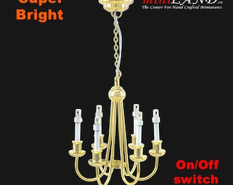 Colonial Brass chandelier 6 arms LED LAMP Dollhouse miniature light with battery and on/off  switch 1:12 scale