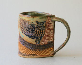 Owl Mug Pottery Hand Made Microwave and Dishwasher Safe