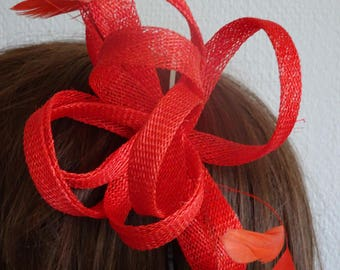 red simamay loops on silver headband  with feathers
