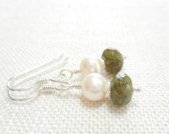 Green Garnet and White Freshwater Pearl Earrings, Sterling Silver Gemstone Jewelry, Dainty Dangle Earrings, Green Stone Beaded Drop Earrings