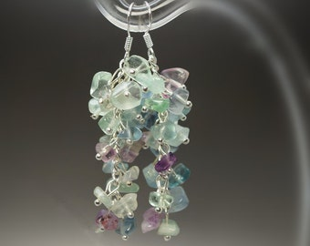 Natural Fluorite Cluster Earrings, Dangle Earrings, Handcrafted Grape Shape Option With 925 Silver Hook Archaistic Design ,healing Earrings