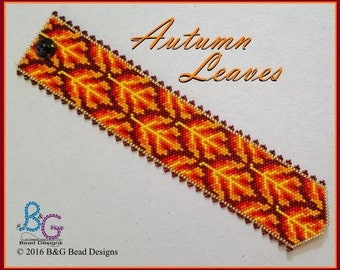 AUTUMN LEAVES Peyote Cuff Bracelet Pattern