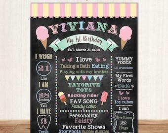 Ice Cream First Birthday Chalkboard Sign Milestone Poster Ice cream Party Girls Milestones Poster CBD0017