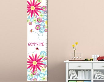 Personalized Growth Chart Girls - Personalized Children's Growth Chart - Buzzing Flowers Height Chart - GC925 BUZZINGFLOWERS