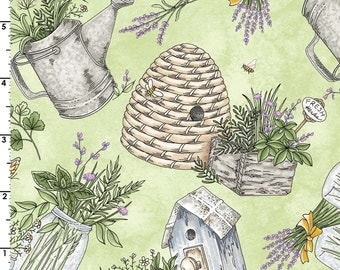 Garden Fabric, Bee Hive, Herb Design - Thyme with Friends by Kris Lammer for Maywood Studio - MAS 8333 Green Main - Priced by the half yard