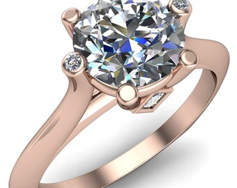 Deity Round Moissanite 4 Prong Cathedral Ring