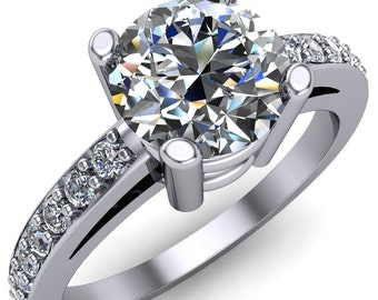 Jubilee Round Forever One Moissanite 4 Prong Diamond Channel Engagement Ring