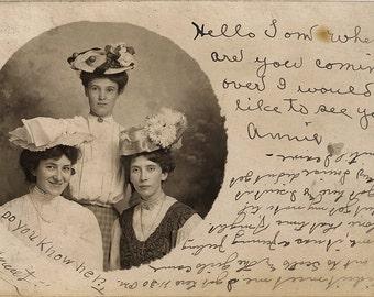The Vintage Postcard as Framable Art (Hats; Women; 1920s; Handwriting; High Fashion)