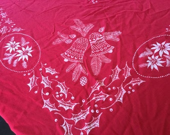 Vintage Red Holiday Linen Table Cloth Holly Poinsettia Bells