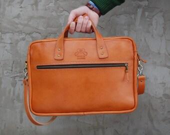 Slim Leather Briefcase, husband gift, men's messenger, Laptop Briefcase, Attache, Work Bag, Full Grain Laptop Bag, Men's Leather Saddle Bag