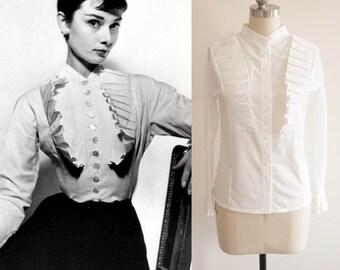 Audrey Hepburn/ White Ruffle Blouse/ Women shirt / White Shirt/ 1950s blouse/ Roman Holiday/ Custom made blouse/ Gift for her