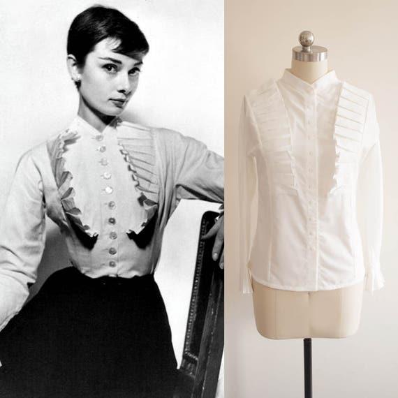 Audrey Hepburn/ White Ruffle Blouse/ Women shirt / White
