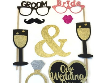 Photo Booth Props - Wedding Photo Booth- 10pc Wedding Photo Booth