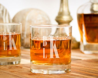 2 Personalized Rocks Glass, Custom Monogrammed Whiskey Glass, Personalized Barware: Groomsman Gift for Him, Father of the Bride