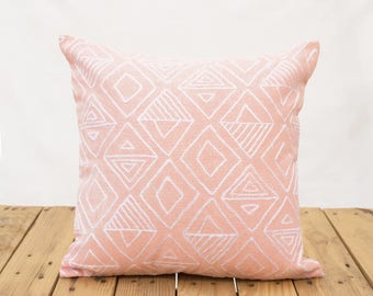 """Aztec pattern pillow cover, blush colour, embroidery, geometrical, cotton pillow cover,16""""X16"""""""