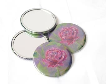 Rose Mirror, Rose Art Pocket Mirror, 58 mm Mirror, Tiny Mirror, Travel Mirror, Art Gift, Rose Gift, Unique Gifts, Roses, Rose Mirrors, Pouch