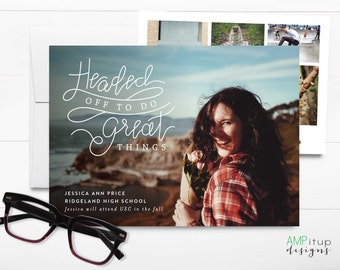 Headed Off to do Great Things Graduation Announcement - Hand Lettered Graduation Announcement - Future Plan - High School College Graduation