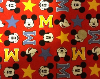 MICKEY MOUSE FABRIC / 1 Yard For Quilting / Disney / Face - Red - Stars
