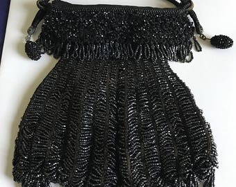 """Victorian """"Little Black Dress"""" Beaded Purse with Fringe"""