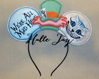 MATTE: Tim Burton Alice In Wonderland Mad Hatter Cheshire Cat Mad Hare Ears Headband