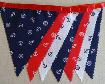 3m Length - Nautical Anchor Bunting Red White Blue on Red Satin Ribbon - Beach Seaside