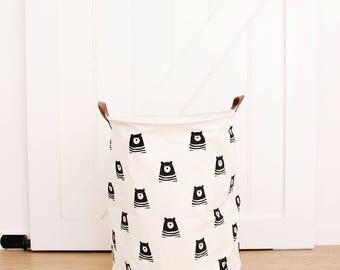 Bear Black Extra Large Canvas Storage Bags