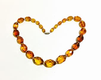 Gorgeous Vintage Amber Faceted Glass Necklace