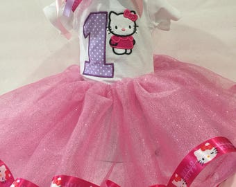 Hello Kitty 1st Birthday Outfit with Tutu and Hair Bow