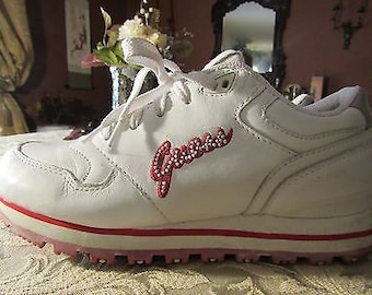 White and Red Bling Sneakers - Size 7M
