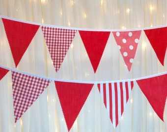 Red Fabric Bunting with Gingham Spots & Stripe ideal for Parties, BBQs, Weddings, baby showers, garden parties, BBQs,