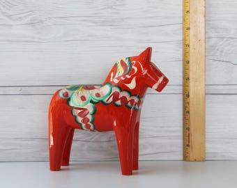 Vintage Swedish Orange Dala Horse Souvenir, Swedish Folk Art Horse, Vintage Swedish Souvenir, Dalecarlian Horse #41