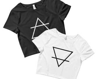 Earth Element Crop Top - Hand Drawn Graphic Crop Top - Graphic Tee - Ladies Crop Top - Occult