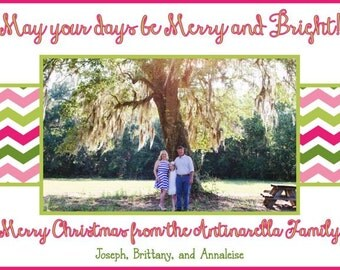 Pink and Green Chevron Photo Christmas Card