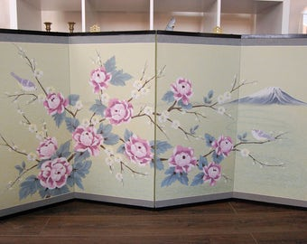 Vintage Chinese Folding Screen - 4 Panel Folding Decorative Screen - Cherry Blossom Asian Art