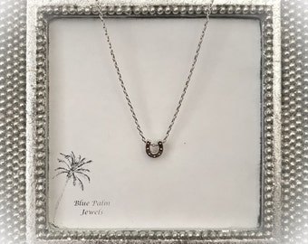 """20% OFF- Dainty """"Good Luck"""" Horseshoe Silver Necklace"""