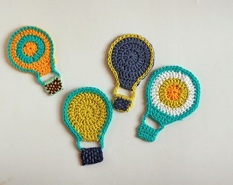 Hot air balloon Crochet applique, High and above embellishments, 6x9cm, Set of 4