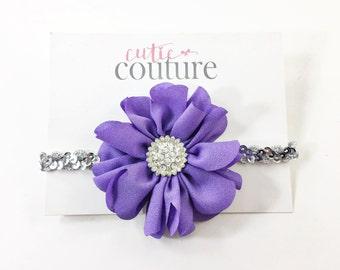 Purple Headband, Purple Flower Girl Headband, purple and silver Headband, silver Headband, Sequin Headband, purple Flower Headband