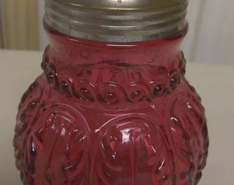 Northwood Leaf Umbrella Sugar Shaker Muffineer Cranberry Glass Circa 1890 Mint Condition