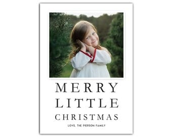 Custom Photo Christmas Card // Photo Holiday Cards // Christmas Cards photo // 5x7 Printable Merry Little Christmas Card // The PIersons