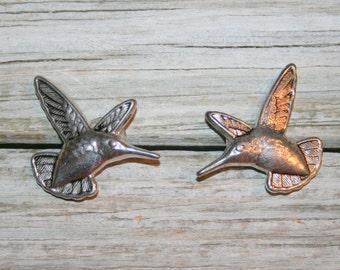 Hummingbird Earrings Pierced Post Earrings Stud Jewelry Silver Tone