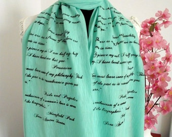 JANE AUSTEN Book scarf  Literary Quotes Scarf Pride and Prejudice Emma Sense and Sensibily Persuation Librarian Christmas Gift Book Lovers